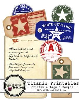 Titanic Printable Luggage and Baggage Tags