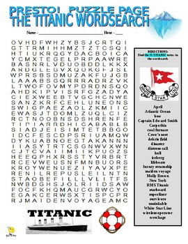 Titanic Puzzle Page (Wordsearch and Criss-Cross)