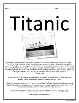 Titanic: Reading, Writing, Research, Bibliography