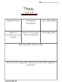Titanic Research Graphic Organizer