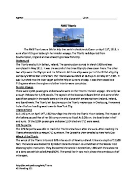 Titanic - Review Article - factsQuestions - Vocabulary - T