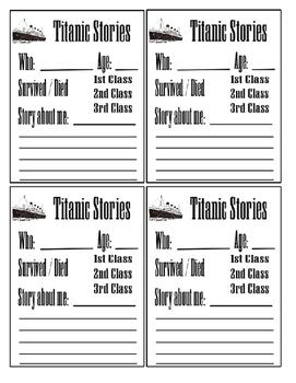 Titanic Story Cards