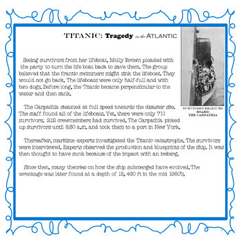 Titanic: Tragedy in the Atlantic for Multiple Subjects