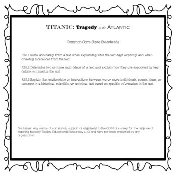 Titanic Tragedy Comprehension Passages and Questions Black White Version No Prep