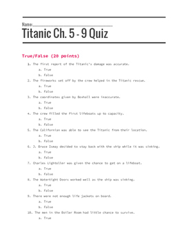 Titanic: Voices from the Disaster Assessment and Chapter Questions Bundle