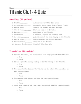 Titanic: Voices from the Disaster Assessment and Chapter Q