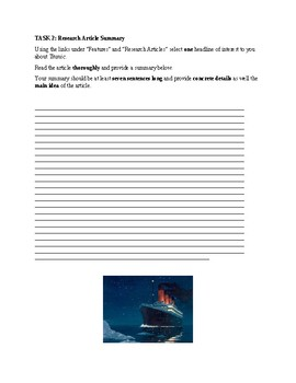 Titanic Webquest and Research