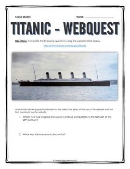 Titanic - Webquest with Key (History.com)
