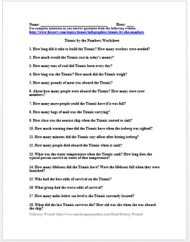 Titanic by the Numbers Worksheet (Great Website)