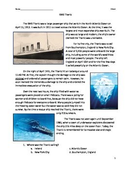 Titanic {with comprehension questions}