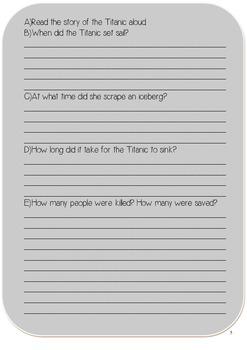 Titanic: An Epic Journey {Reading Comprehension Worksheet}