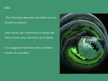 Titanoboa - Giant Snake - Extinct Power Point History Facts Information