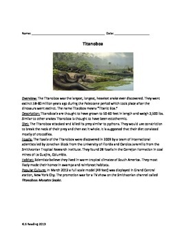 Titanoboa - Review Article Facts Info - Questions Vocabulary Word Search