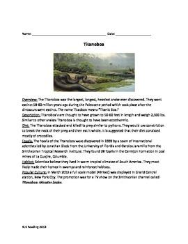 Titanoboa - Review Article Facts Info - Questions Vocabula