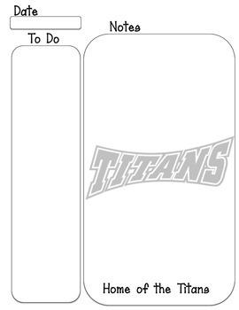 Titans mascot To Do note taking sheet