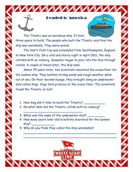 Titantic Reading Passage and Questions