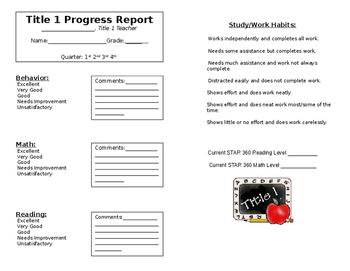 Title 1 Quick Quarterly Progress Report
