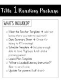 Title 1 Reading Package!