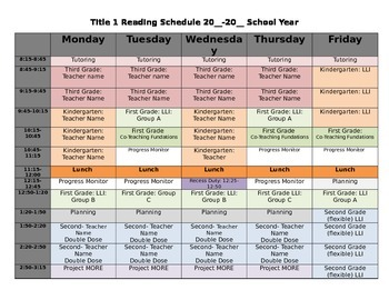 Title 1 Reading Schedule Template