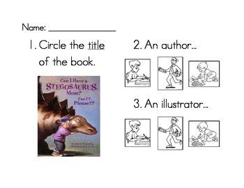 Title, Author, Illustrator worksheet set