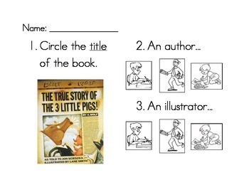 Title, Author, Illustrator worksheet set