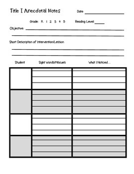 Title I Anecdotal Note-Taking Sheet: 4 Students