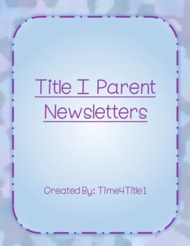 Title I Parent Newsletters