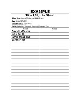 "Title I Form ""Sign In Sheet"""