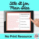Main Idea Short Passages Activity NO PRINT Speech Therapy