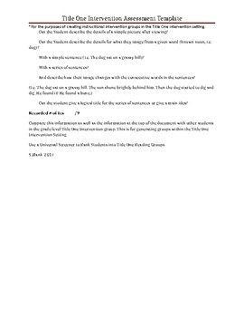 Title One Intervention Assessment Template-All Grade