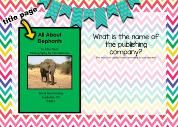 Title Page - Boom Cards Interactive Task Cards - Parts of a Book