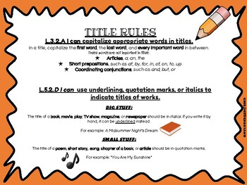 Title Turkeys Thanksgiving Craftivity and Rules Handout  L.5.2d, L.3.2a