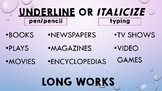 Titles: Underline, Italicize, or Quotation Marks? Posters/