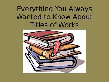 Titles of Works PTA Skills Bundle