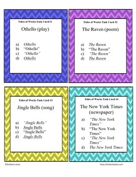 Titles of Works Task Cards