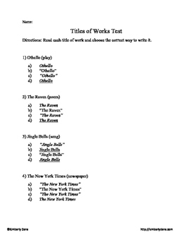 Titles of Works Test