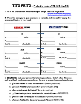 Tito Frito video worksheet Preterite Tense endings including some irregulars
