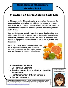 Titration of Citric Acid in a Citrus Soda - Chemistry