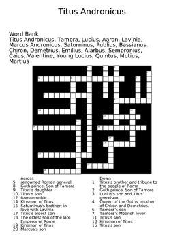 Titus Andronicus Crossword Puzzle