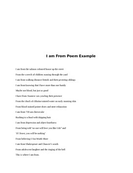 Tne Journal Exchange: I am From poems