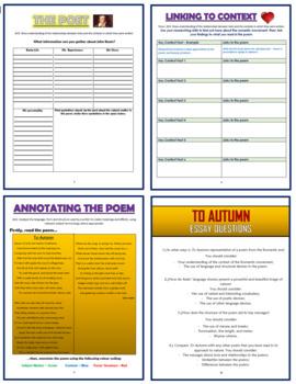 To Autumn - John Keats - Comprehension Activities Booklet!