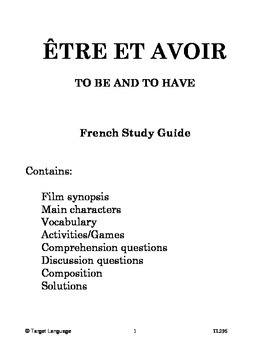 To Be And To Have-French Study Guide