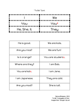 To Be Conjugation & Sort