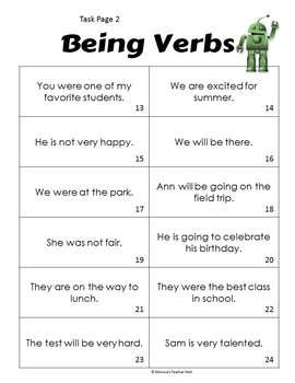 State of Being Verb Activity To Be Verbs