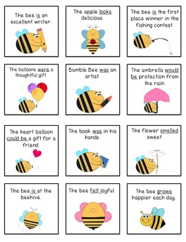 To Bee or Not To Bee Linking Verbs and Action Verbs Center Game Grades 3-5