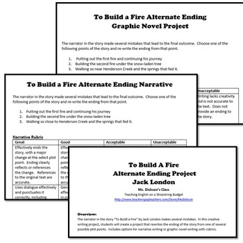 To Build a Fire Alternate Ending Project (Jack London)