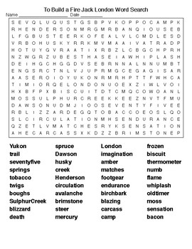 to build a fire jack london word search puzzle and key by lonnie jones taylor. Black Bedroom Furniture Sets. Home Design Ideas