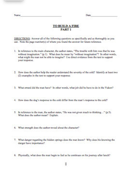 To Build a Fire Reading Comprehension & Analysis Questions with Answer Key