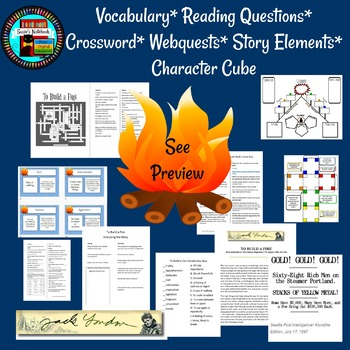To Build a Fire Reading Questions, Vocabulary, Crossword with Paired Passage