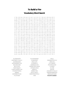 To Build a Fire Vocabulary Word Search - Jack London